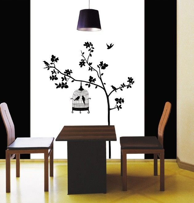 TREE & BIRDCAGE Adhesive Removable Wall Decor Accents Sticker Decal