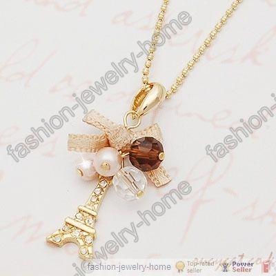 White Colour Pearl Gold Plated Tower Chain Necklace