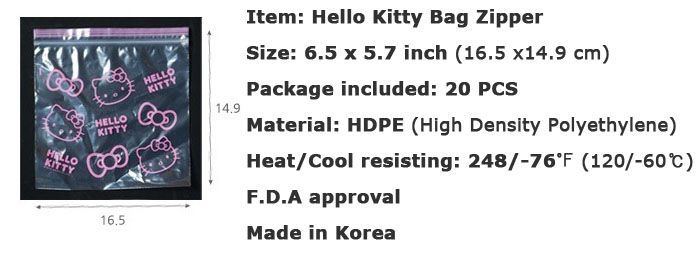 HELLO KITTY Plastic Zipper Bag Food Storage Travel Cosmetic Vinyl